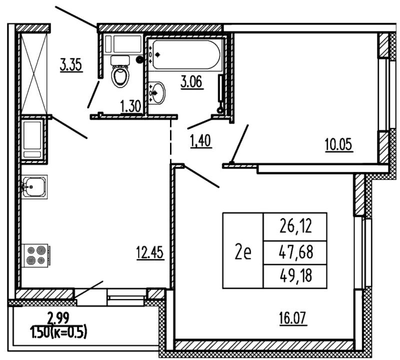 Планировка Двухкомнатная квартира (Евро) площадью 49.18 кв.м в ЖК «Территория»