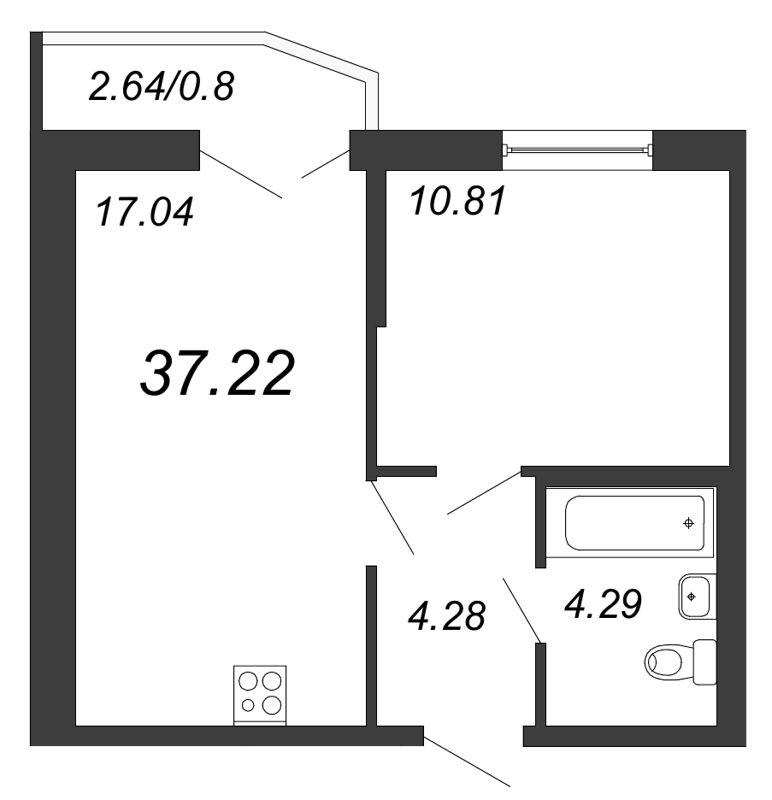 Планировка Двухкомнатная квартира (Евро) площадью 37.22 кв.м в ЖК «Территория»