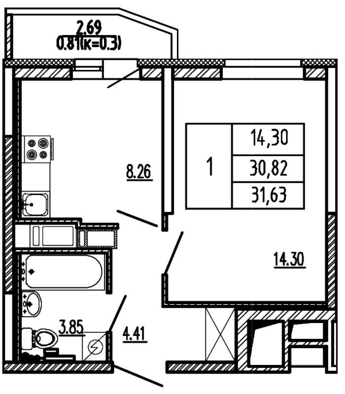 Планировка Однокомнатная квартира площадью 31.63 кв.м в ЖК «Территория»
