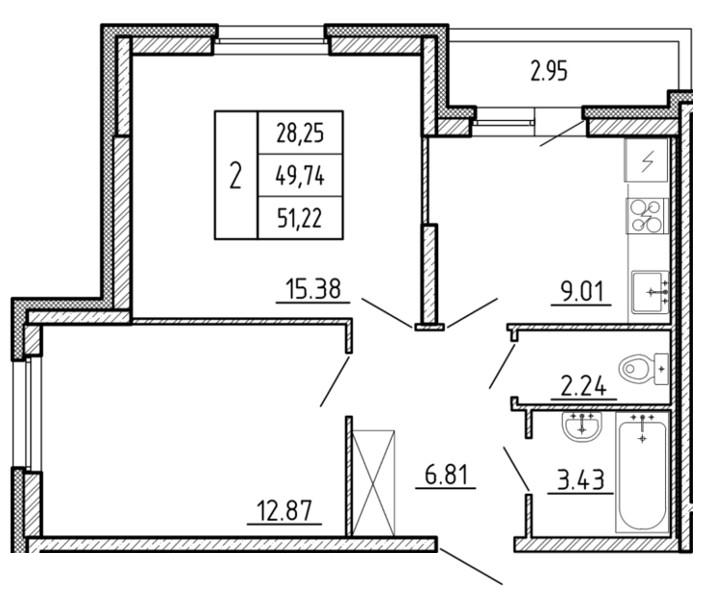 Планировка Двухкомнатная квартира площадью 51.22 кв.м в ЖК «Территория»