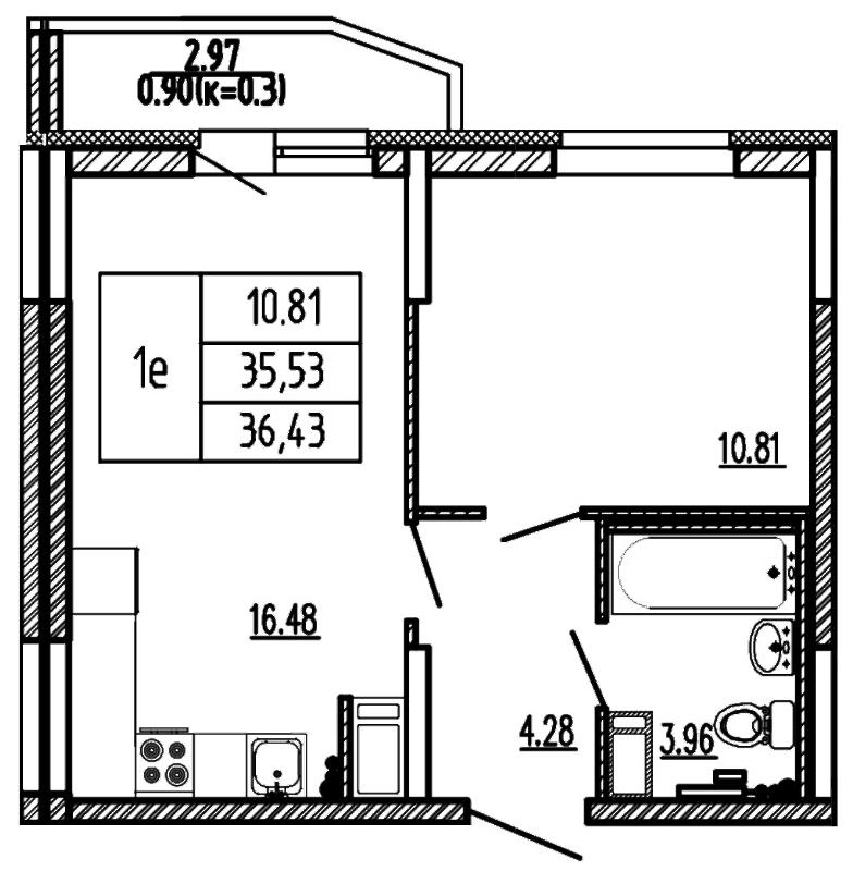 Планировка Двухкомнатная квартира (Евро) площадью 36.43 кв.м в ЖК «Территория»