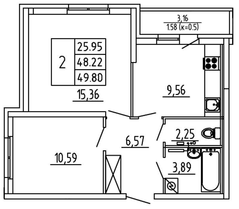 Планировка Двухкомнатная квартира площадью 49.8 кв.м в ЖК «Территория»