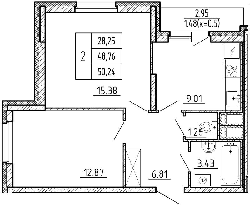 Планировка Двухкомнатная квартира площадью 50.24 кв.м в ЖК «Территория»