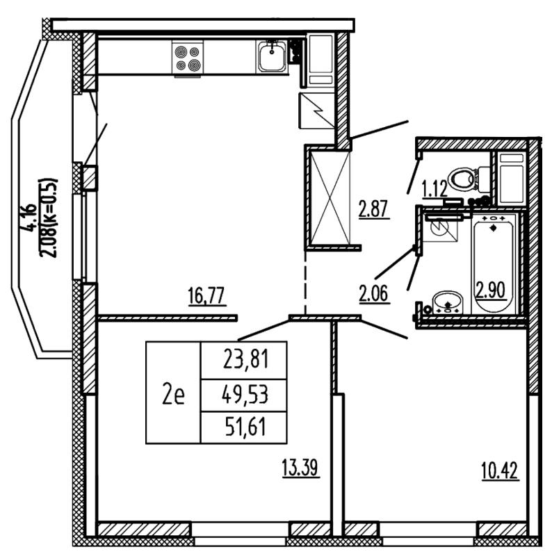 Планировка Трёхкомнатная квартира (Евро) площадью 51.61 кв.м в ЖК «Территория»