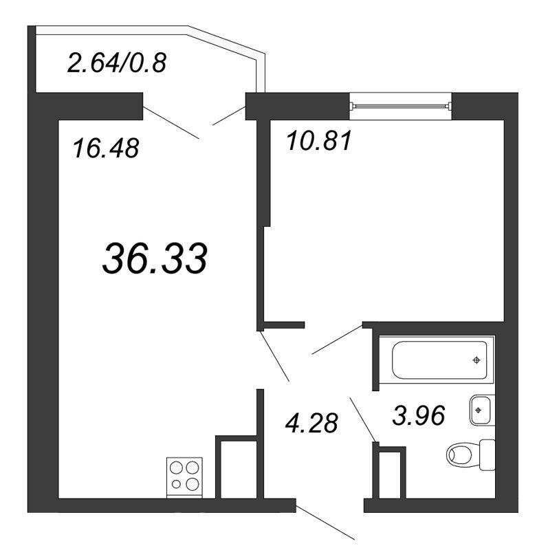 Планировка Двухкомнатная квартира (Евро) площадью 36.33 кв.м в ЖК «Территория»