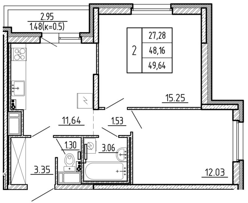 Планировка Двухкомнатная квартира площадью 49.64 кв.м в ЖК «Территория»