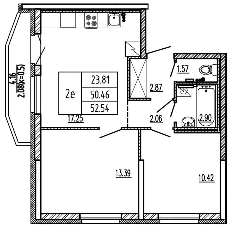 Планировка Трёхкомнатная квартира (Евро) площадью 52.54 кв.м в ЖК «Территория»
