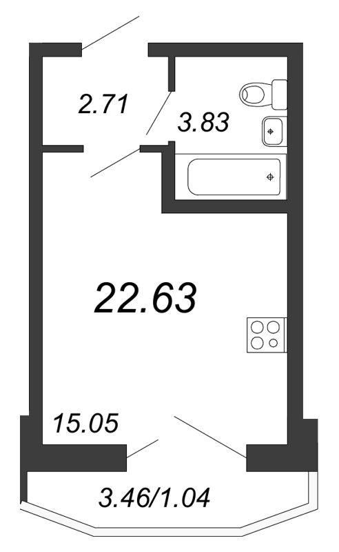 Планировка Студия площадью 22.63 кв.м в ЖК «Территория»