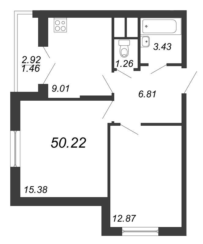 Планировка Двухкомнатная квартира площадью 50.22 кв.м в ЖК «Территория»