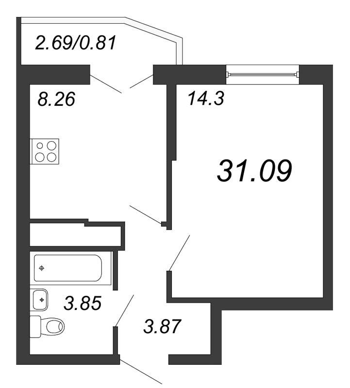 Планировка Однокомнатная квартира площадью 31.09 кв.м в ЖК «Территория»