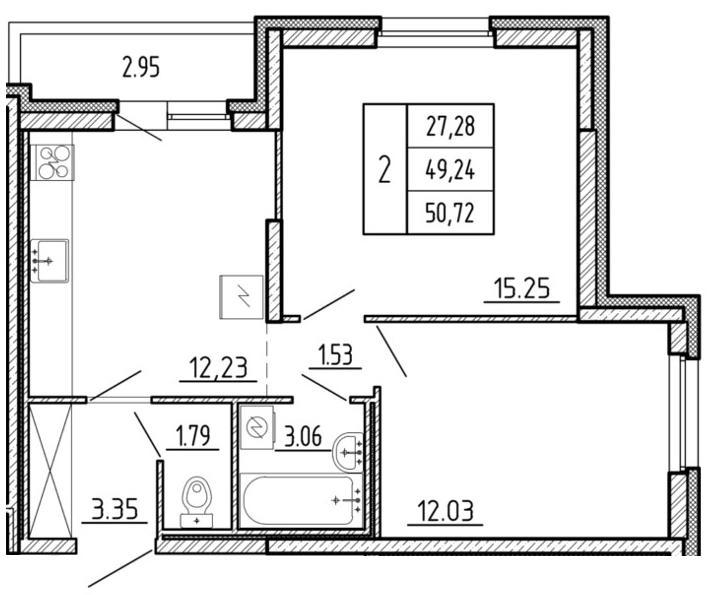 Планировка Двухкомнатная квартира площадью 50.72 кв.м в ЖК «Территория»