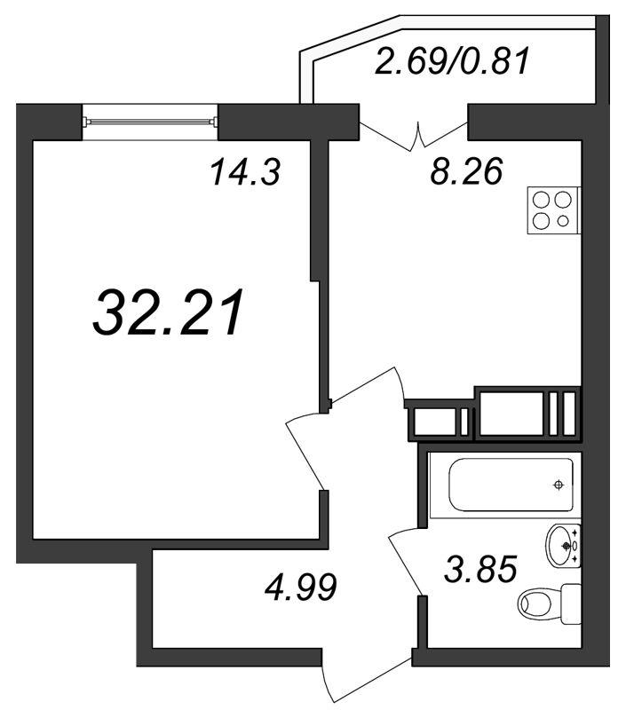 Планировка Однокомнатная квартира площадью 32.21 кв.м в ЖК «Территория»