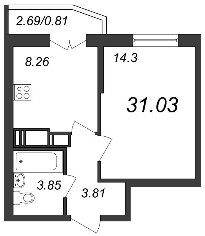 Планировка Однокомнатная квартира площадью 31.03 кв.м в ЖК «Территория»