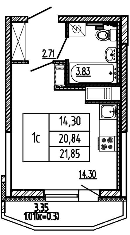Планировка Студия площадью 21.85 кв.м в ЖК «Территория»