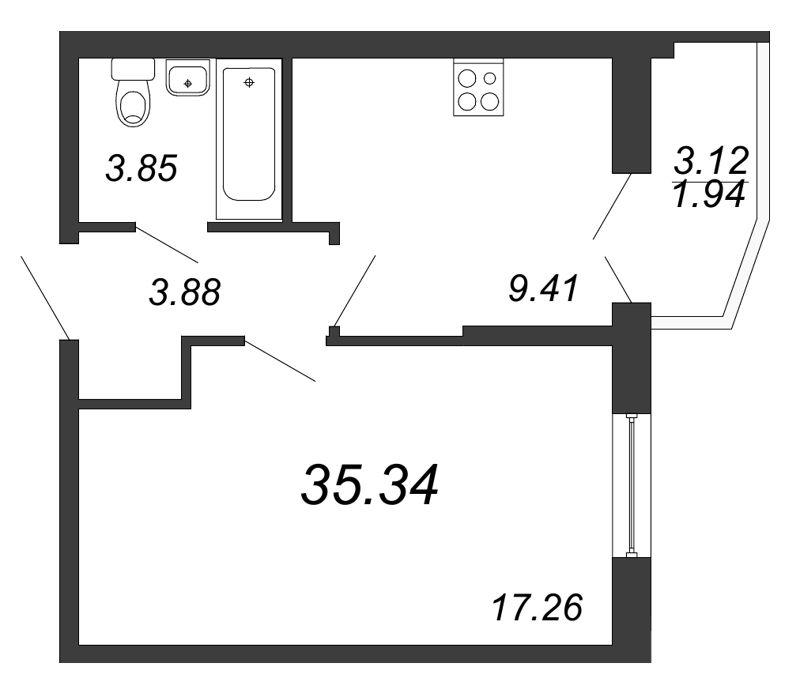 Планировка Однокомнатная квартира площадью 35.34 кв.м в ЖК «Территория»
