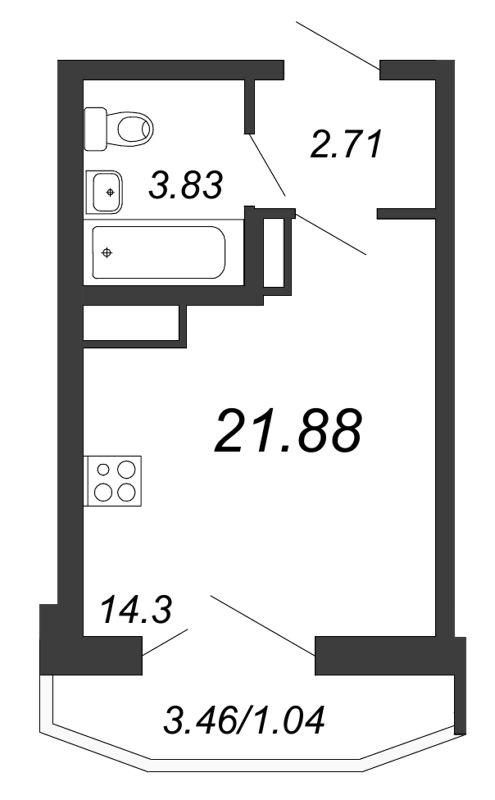 Планировка Студия площадью 21.88 кв.м в ЖК «Территория»