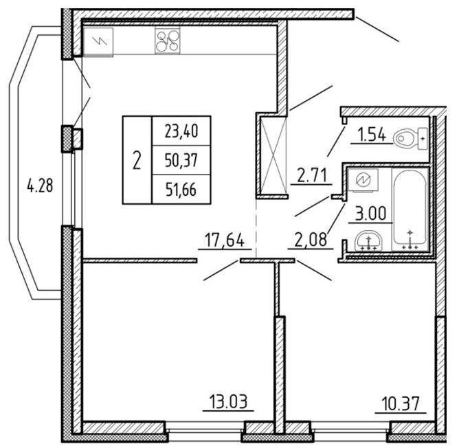 Планировка Трёхкомнатная квартира (Евро) площадью 51.66 кв.м в ЖК «Территория»